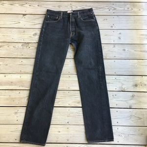 Levi 501 Button Fly Straight Leg Black Denim Jeans